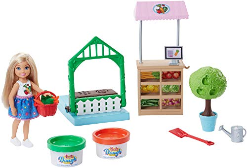 Barbie FRH75 Careers Veggie Garden Playdoh, Comes with Blonde Chelsea Doll. Accessories Playset, Multi-Colour, Norme from Barbie