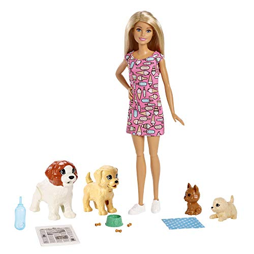Barbie FXH08 Doggy Daycare Doll, Blonde and Pets Playset, with Puppy That Poops and One That Pees, Plus Colour-Change Paper and More, Multicolour from Barbie