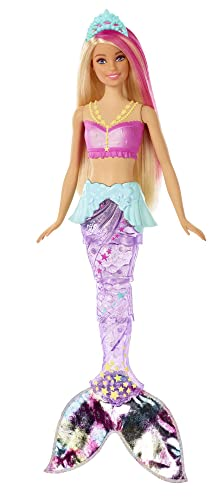 Barbie GFL82 Dreamtopia Sparkle Mermaid Doll, with Swimming Motion and Underwater Light Shows, Approximately 12 Inch, with Pink-Streaked Blonde Hair from Barbie