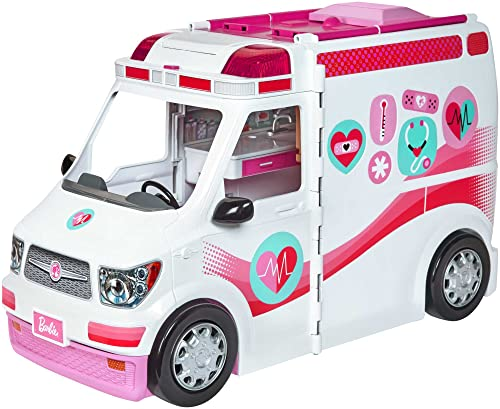 Barbie FRM19 CAREERS Care Clinic Ambulance, Play, Role Model, Lights and Sounds, Lots of Accessories Vehicle, Multi-Colour, 0 from Barbie