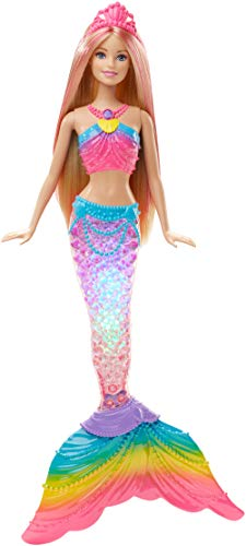 Barbie DHC40 FANTASY Rainbow Lights Mermaid Colourful Light Display, Bath Play, Blonde Hair, Toy for 2 to 5 Years Children Dolls from Barbie