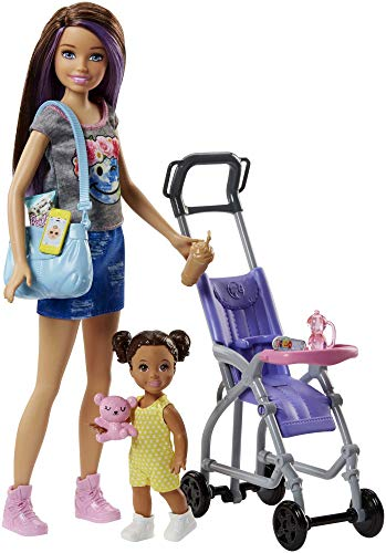 Barbie FJB00 FAMILY Babysitter Brunette Doll with Baby and Accessories, with Pram Playset, Multi-Colour, 0 from Barbie