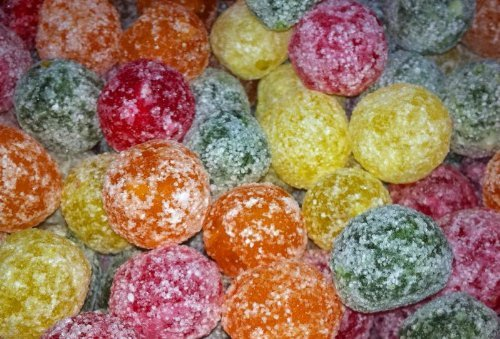 Mega Sour Assorted Fruit Fizz Bombs (extremely sour) 500 gram bag (1/2 kilo) from Barnetts
