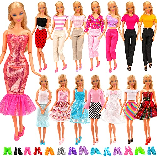 Miunana 15 items = 5 Sets Handmade Daily Fashion Causal Clothes Outfits Bundle with 10 shoes for Barbie Doll Random Stlye from Miunana