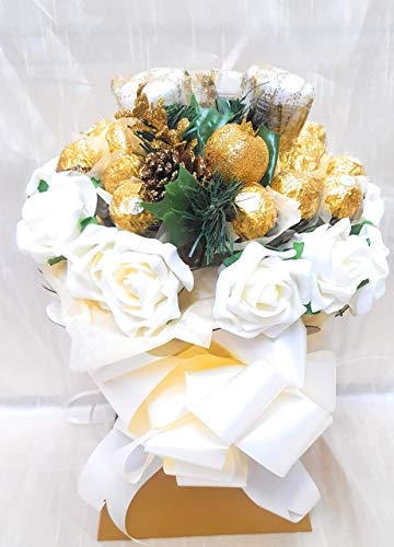 Chocolate Bouquet Luxury Cream & Gold Ferrero Rocher & Yankee Candles Bouquet from Baskets Hampers and More