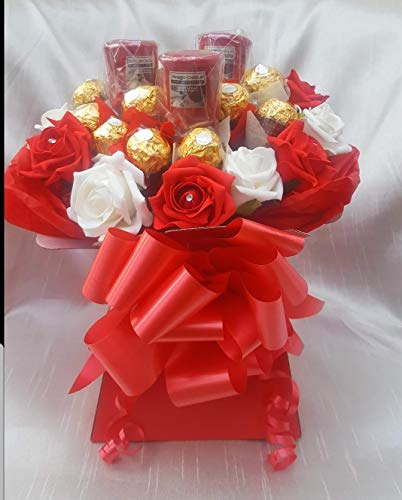 Chocolate Bouquet Luxury Red & White Ferrero Rocher Chocolate Bouquet with Yankee Candles from Baskets Hampers and More
