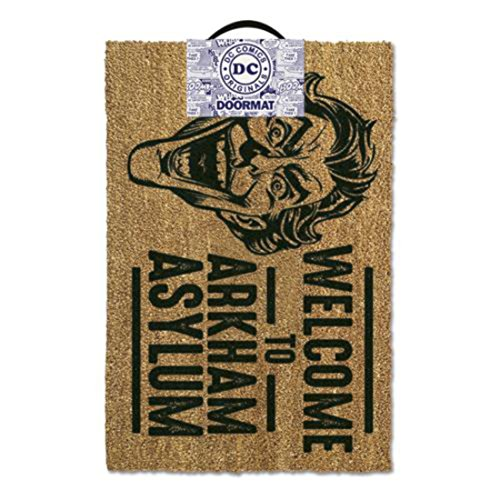 "DC Comics Batman The Joker ""Welcome To Arkham Asylum"" Door Mat, Polyurethane, Brown from DC Comics"