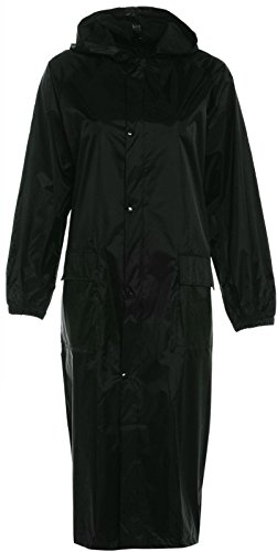 Mens Womens Long Waterproof Trenchcoat Cagoule Raincoat Kagool Kag Mac Jacket (MEDIUM, BLACK) from Baum Country