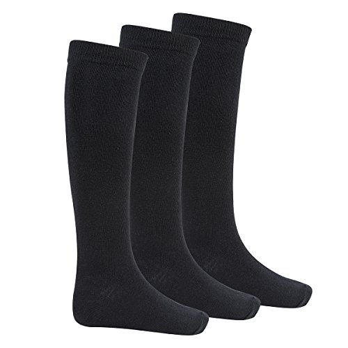 Bay 6 Kids Plain Cotton Rich Knee High School Socks 3 Pack Black 12.5-3.5 from Bay 6