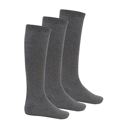 Bay 6 Kids Plain Cotton Rich Knee High School Socks 3 Pack Grey 4-5.5 from Bay 6
