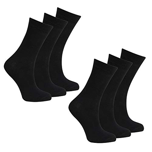 BAY6 6 Pairs Kids Back To School Plain Uniform Socks - 2 Packs - Black Size 4-6.5 from Bay
