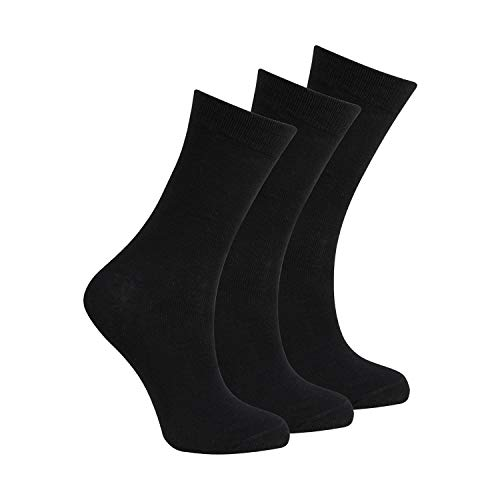 BAY6 6 Pairs Kids Back To School Plain Uniform Socks - 2 Packs - Black Size 12.5-3.5 from Bay