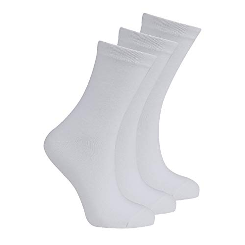 BAY6 6 Pairs Kids Back To School Plain Uniform Socks - White Size 4-6.5 from Bay