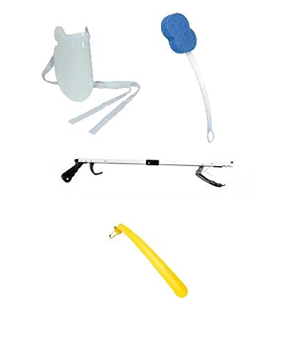 "EASY REACH KIT - INCLUDES 32"" GRABBER, SOCK PULLER, SHOE HORN, BATH SPONGE AND DRESSING STICK. Ideal for hip replacement recovery. from Bayliss Mobility"