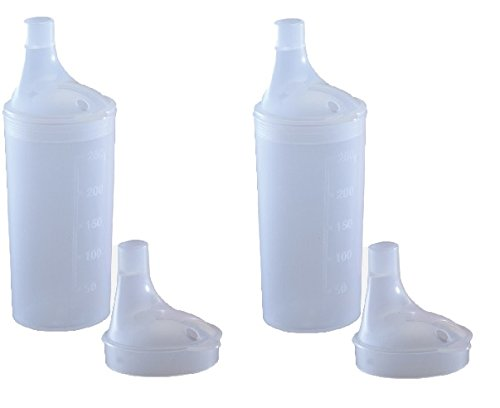 PLASTIC FEEDING CUP WITH 2 LIDS - Adult feeder beaker with large and narrow spout - Hospital mug (2) from Bayliss Mobility