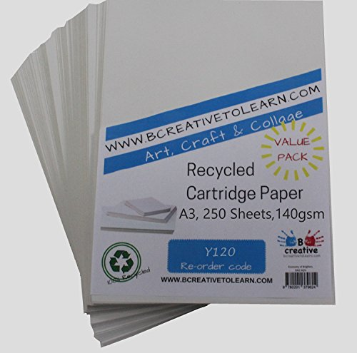 A3 Recycled Cartridge Paper 140gsm 250 sheets by BCreative ® from Be Creative