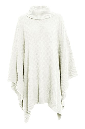 New Womens Ladies Grid Knitted Knitwear Wrap Polo Neck Poncho Jumper Cape Shawl from Fashion Star