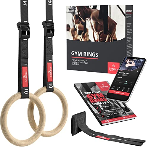 BeMaxx Fitness Olympic Gym Rings Door Anchor Attachment & Training Guide - Safety Straps + Length Markings | Premium Birch Wood | For Workout, Home Exercise, Body Building | Adults children man woman from BeMaxx Fitness