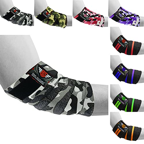 HEAVY DUTY ELBOW SLEEVES SUPPORT WRAPS STRAPS GYM POWER WEIGHT LIFTING PAIR (Gray Camo, One Size) from BeSmart