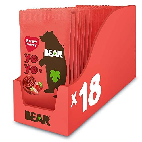 BEAR Strawberry Pure Fruit Yoyos 20g (Pack of 18) from BEAR