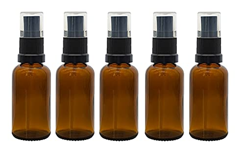 Bee Beautiful 30ml Amber Glass Bottle with 18mm Black Atomiser Mist Spray (5 X 30ml Bottles) from Bee Beautiful