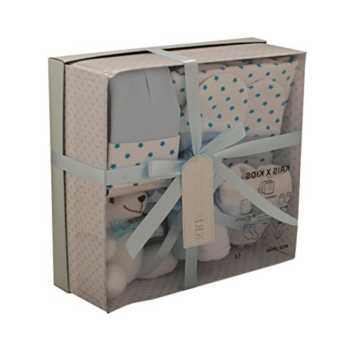 Newborn Baby 7 pcs Gift Set 0 - 3 Months. Available in Blue or Pink (Blue STARS) from Bee Bo