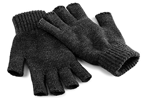 Beechfield Men's Fingerless Gloves Charcoal S/M Cold Weather from Beechfield