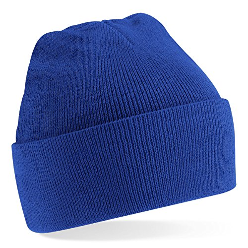 Beechfield Knitted hat with turn up in Royal from Beechfield