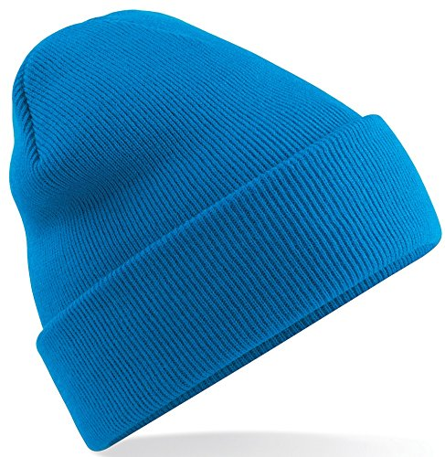 Beechfield Knitted hat with turn up in Sapphire from Beechfield