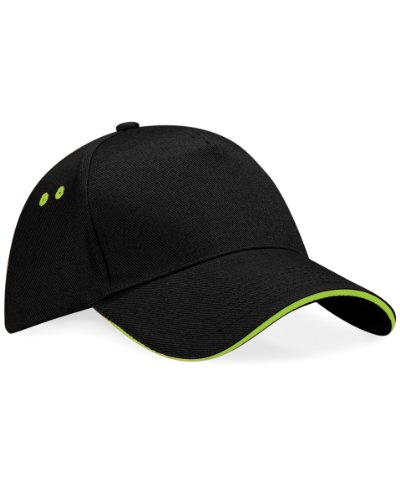 Beechfield Ultimte Sandwich Peak Cap Colour=Black/Lime Green Size=O/S from Beechfield