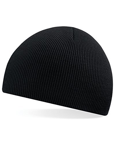 Beechfield Unisex 100% Soft Feel Knitted Beenie Hat-9 Colours Available Baseball Cap, Black, One Size from Beechfield