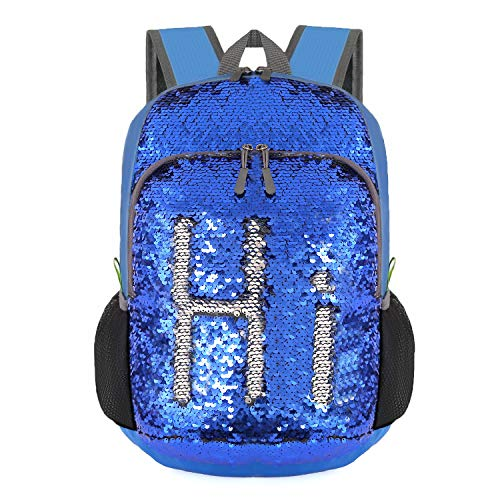 Bekahizar 20L Reversible Sequin Backpack Glittering Bling Mermaid Daypack Rucksack Lightweight Magic Travel Day Bag for Boys and Girls Hiking Camping Cycling Walking (Sequin Silver Blue) from Bekahizar