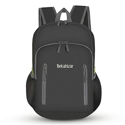 Bekahizar 20L Ultra Lightweight Backpack Foldable Hiking Daypack Rucksack Water Resistant Travel Day Bag for Men Women Kids Outdoor Camping Mountaineering Walking Cycling Climbing (Black) from Bekahizar