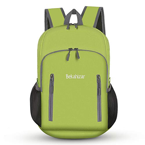 Bekahizar 20L Ultra Lightweight Backpack Foldable Hiking Daypack Rucksack Water Resistant Travel Day Bag for Men Women Kids Outdoor Camping Mountaineering Walking Cycling Climbing (Bright Green) from Bekahizar