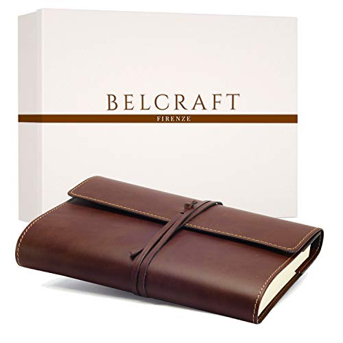Vietri Classico Large Recycled Leather Journal / Notebook, Elegant present with special Gift Box, Handmade Classic Italian Style, A5 (15x21 cm) Brown from Belcraft