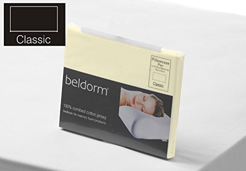 Belledorm 100% Combed Cotton Jersey memory Foam Fitted Sheet in Ivory Bunk Bed 75cm x 200cm x 15-25cm Deep from Belledorm