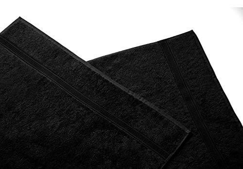 Belledorm Madison Bathroom Towels – 100% Ring Spun Cotton (Black, Face Cloth) from Belledorm