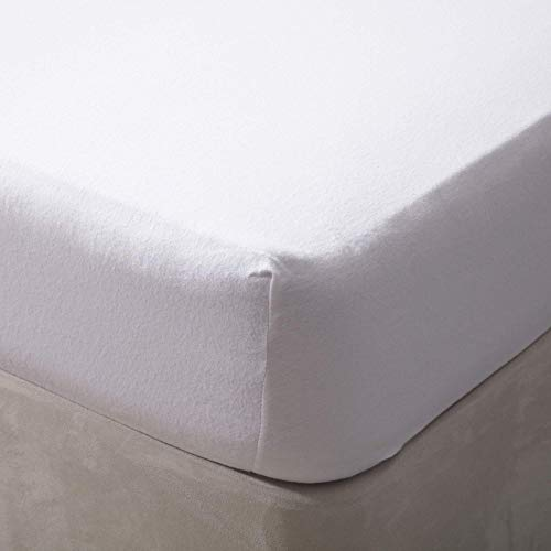 Belledorm 100% Brushed Cotton Flannelette 12 Inch Deep Fitted Sheet, White, Single from Belledorm