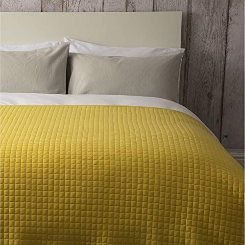 Quilted Bedspread 150cm x 200cm and / or Filled Cushion 40cm x 50cm in Cobalt,Saffron or Grey (Throw 150cm x 200cm, Saffron Yellow) from Belledorm