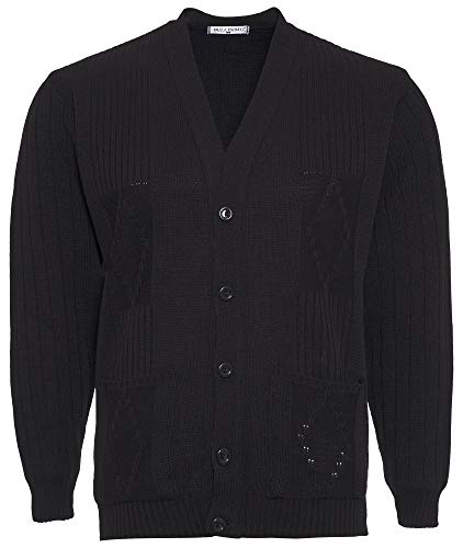 Mens Knitted Cardigan Classic Style Cardigans V Neck Button Jumper Plain Coloured (X-Large, Black) from Bellissimo