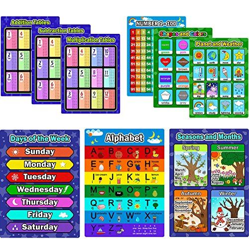 9 Pieces Educational Preschool Posters Learning Poster Kit for Toddlers, Alphabet, Number 1-100, Shapes and Colors, Seasons and Months, Planet and Weather, Days of the Week, Addition Subtraction Multi from Bememo