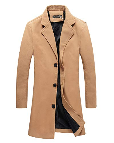 Mens Trench Coat Slim Fit Notched Collar Overcoat (XL, F20 Camel) from Benibos