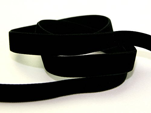 22mm Berisford Velvet Ribbon Mini Roll 5m 9725 Black - per 5 metre roll from Berisfords