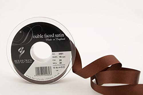 Berisfords Ribbon, Dark Brown, 20m from Berisfords