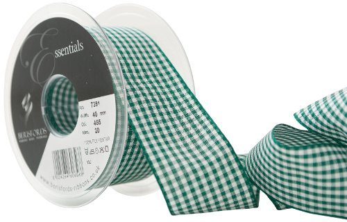 Berisfords 40 mm Gingham Ribbon, Hunter from Berisfords