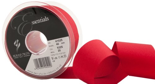 Berisfords 41025 20 m x 40 mm Polyester Grosgrain Ribbon, Red from Berisfords