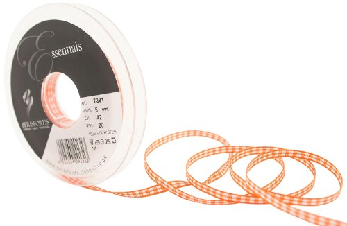 Berisfords 7391 20 m x 5 mm Traditional Check Gingham Ribbon, Orange Delight from Berisfords