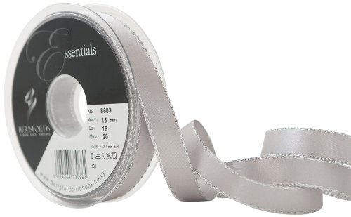 Berisfords 8603-SG-15 15 mm Silver Edge Satin Ribbon, Silver Grey from Berisfords