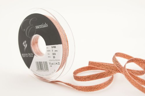 Berisfords 9165 20 m x 7 mm Glitz and Glamour Metallic Lame Ribbon, Copper from Berisfords