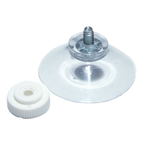 "Packet of (4) 40mm (just over 1 1/2"") suction cup with M4 screw (6mm) with separate ridged nut, standard cup, sucker, suckers, plain, clear vinyl PVC suction cup with screw from Besocute"